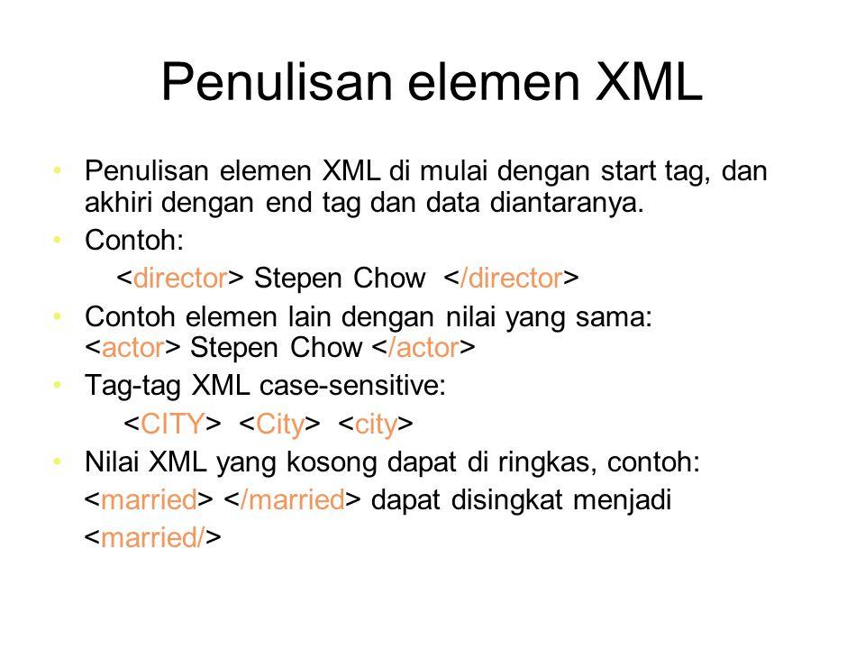 Penulisan elemen XML lanjt.Suatu atribut pasangan antara nama dan nilai dipisah dengan tanda =.