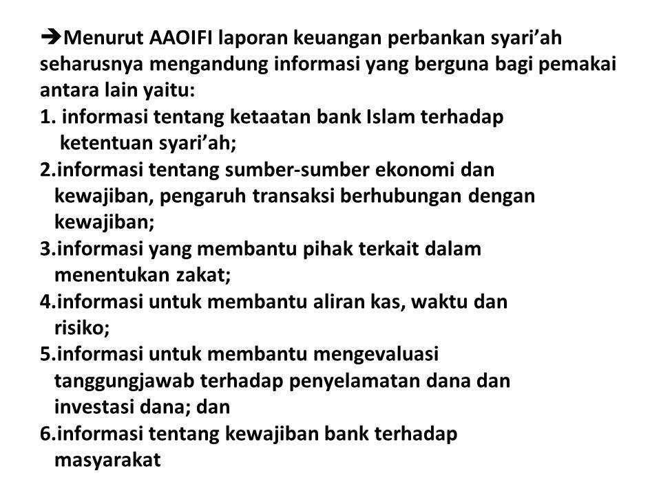  Menurut AAOIFI laporan keuangan perbankan syari'ah seharusnya mengandung informasi yang berguna bagi pemakai antara lain yaitu: 1. informasi tentang