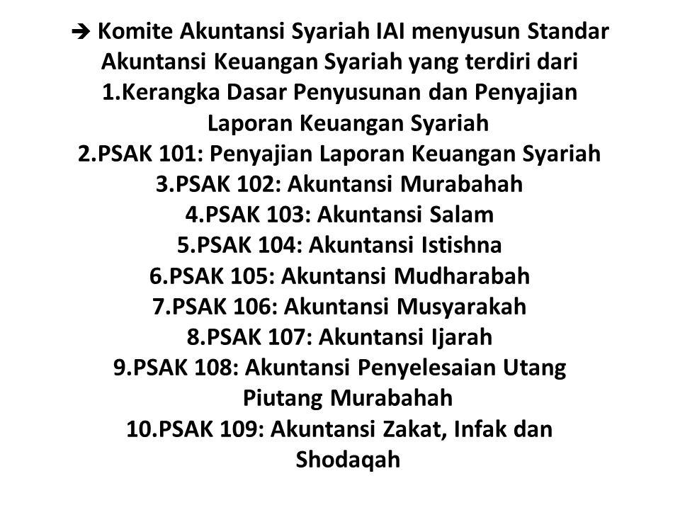  Komite Akuntansi Syariah IAI menyusun Standar Akuntansi Keuangan Syariah yang terdiri dari 1.Kerangka Dasar Penyusunan dan Penyajian Laporan Keuanga