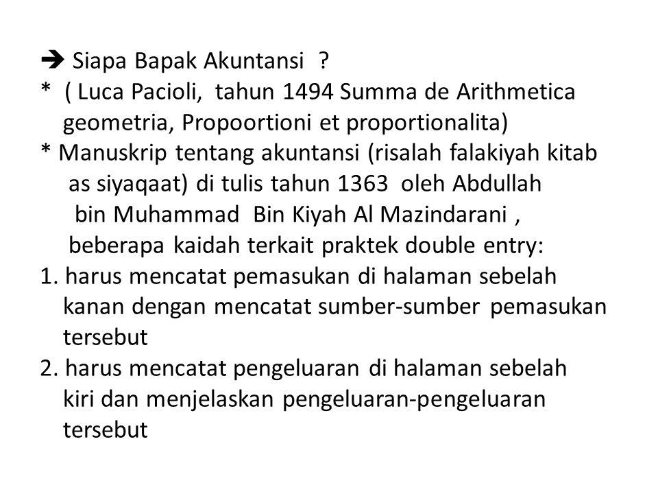  Siapa Bapak Akuntansi ? * ( Luca Pacioli, tahun 1494 Summa de Arithmetica geometria, Propoortioni et proportionalita) * Manuskrip tentang akuntansi