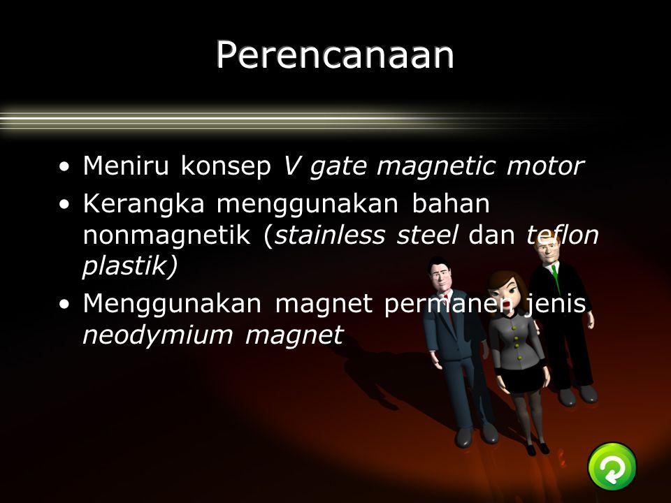 Meniru konsep V gate magnetic motor Kerangka menggunakan bahan nonmagnetik (stainless steel dan teflon plastik) Menggunakan magnet permanen jenis neod