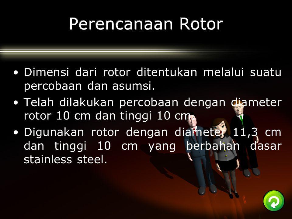 Dimensi dari rotor ditentukan melalui suatu percobaan dan asumsi. Telah dilakukan percobaan dengan diameter rotor 10 cm dan tinggi 10 cm. Digunakan ro
