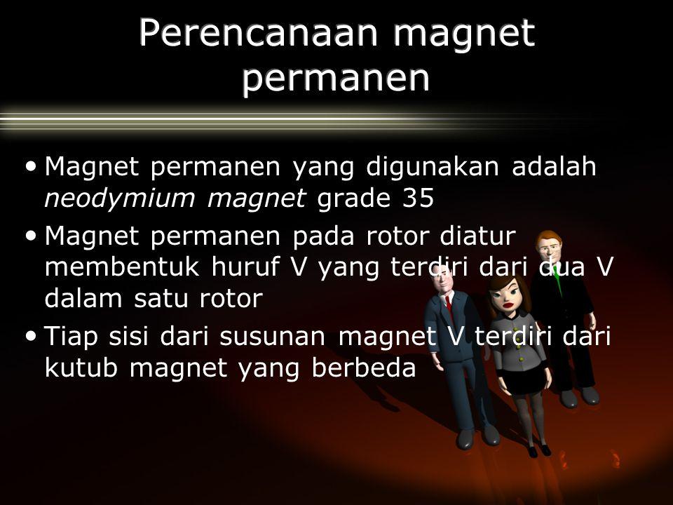 Magnet permanen yang digunakan adalah neodymium magnet grade 35 Magnet permanen pada rotor diatur membentuk huruf V yang terdiri dari dua V dalam satu