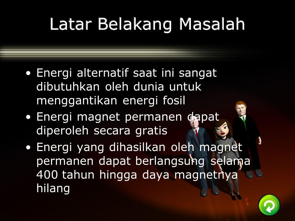 Energi alternatif saat ini sangat dibutuhkan oleh dunia untuk menggantikan energi fosil Energi magnet permanen dapat diperoleh secara gratis Energi ya