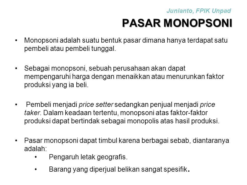 PASAR MONOPSONI Monopsoni adalah suatu bentuk pasar dimana hanya terdapat satu pembeli atau pembeli tunggal. Sebagai monopsoni, sebuah perusahaan akan