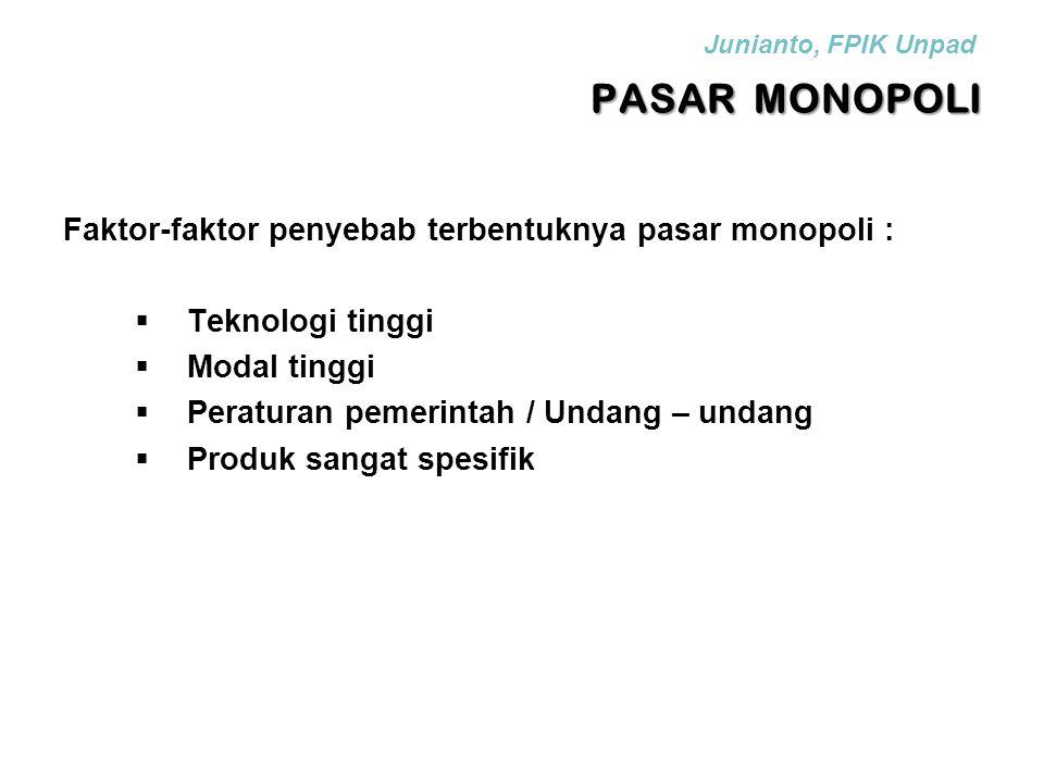 PASAR MONOPOLI Faktor-faktor penyebab terbentuknya pasar monopoli :  Teknologi tinggi  Modal tinggi  Peraturan pemerintah / Undang – undang  Produ