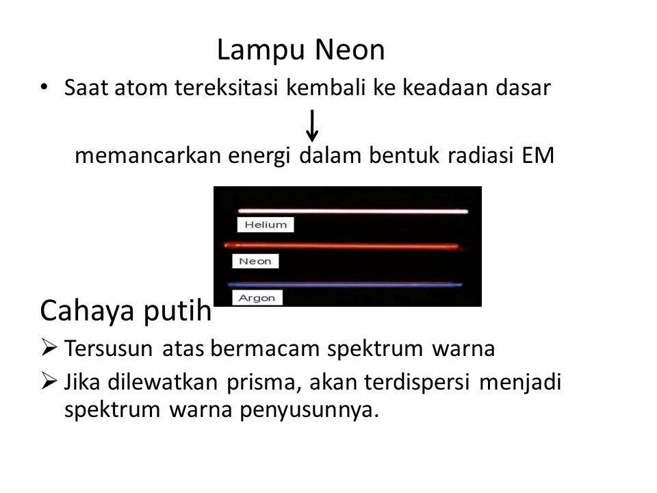 Lampu Neon Saat atom tereksitasi kembali ke keadaan dasar memancarkan energi dalam bentuk radiasi EM Cahaya putih TTersusun atas bermacam spektrum w