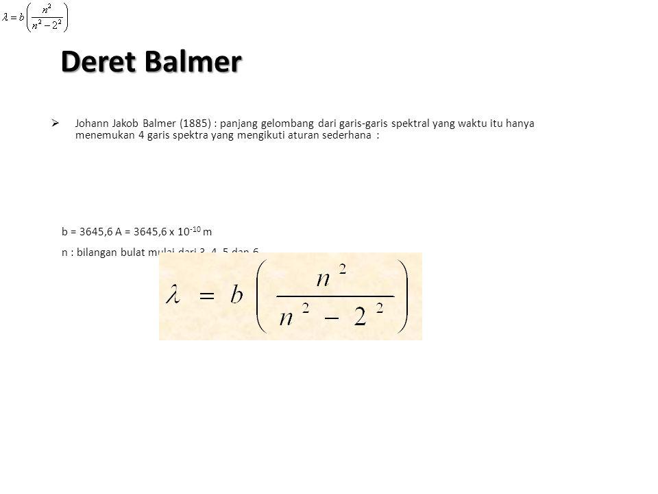 Deret Balmer JJohann Jakob Balmer (1885) : panjang gelombang dari garis-garis spektral yang waktu itu hanya menemukan 4 garis spektra yang mengikuti