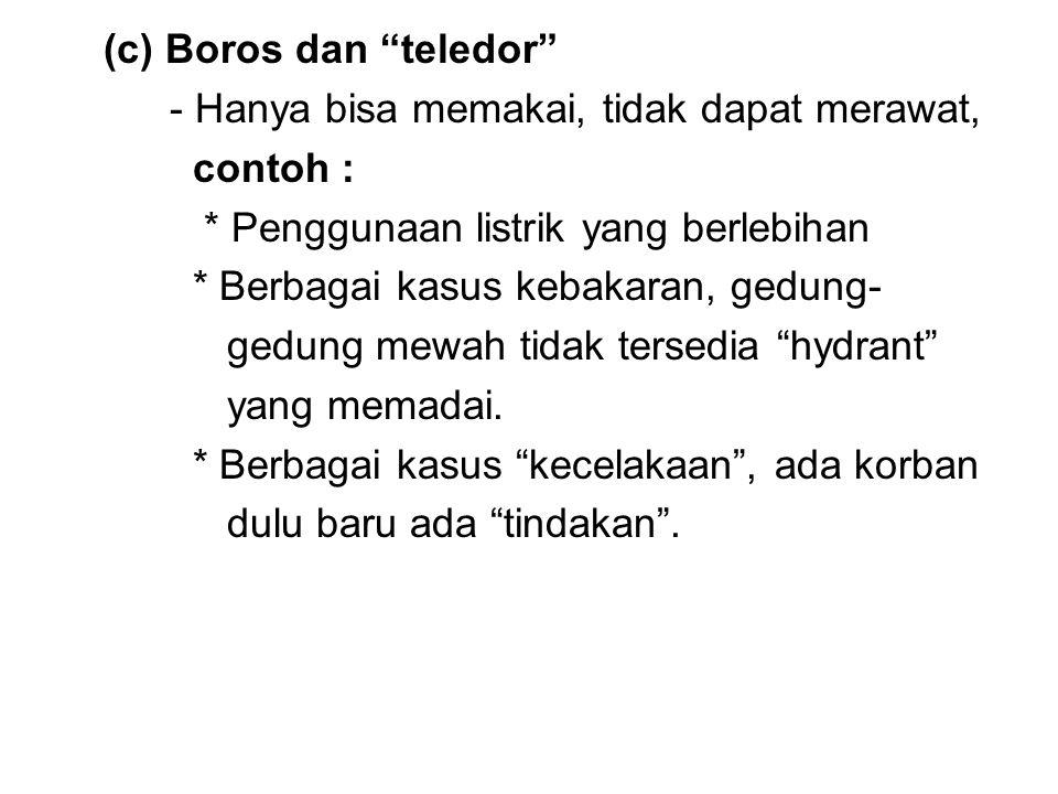 """(c) Boros dan """"teledor"""" - Hanya bisa memakai, tidak dapat merawat, contoh : * Penggunaan listrik yang berlebihan * Berbagai kasus kebakaran, gedung- g"""