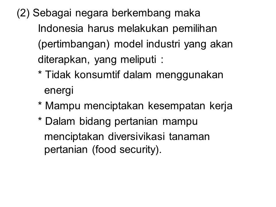 (2) Sebagai negara berkembang maka Indonesia harus melakukan pemilihan (pertimbangan) model industri yang akan diterapkan, yang meliputi : * Tidak kon