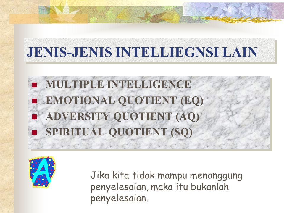 JENIS-JENIS INTELLIEGNSI LAIN MULTIPLE INTELLIGENCE EMOTIONAL QUOTIENT (EQ) ADVERSITY QUOTIENT (AQ) SPIRITUAL QUOTIENT (SQ) MULTIPLE INTELLIGENCE EMOTIONAL QUOTIENT (EQ) ADVERSITY QUOTIENT (AQ) SPIRITUAL QUOTIENT (SQ) Jika kita tidak mampu menanggung penyelesaian, maka itu bukanlah penyelesaian.