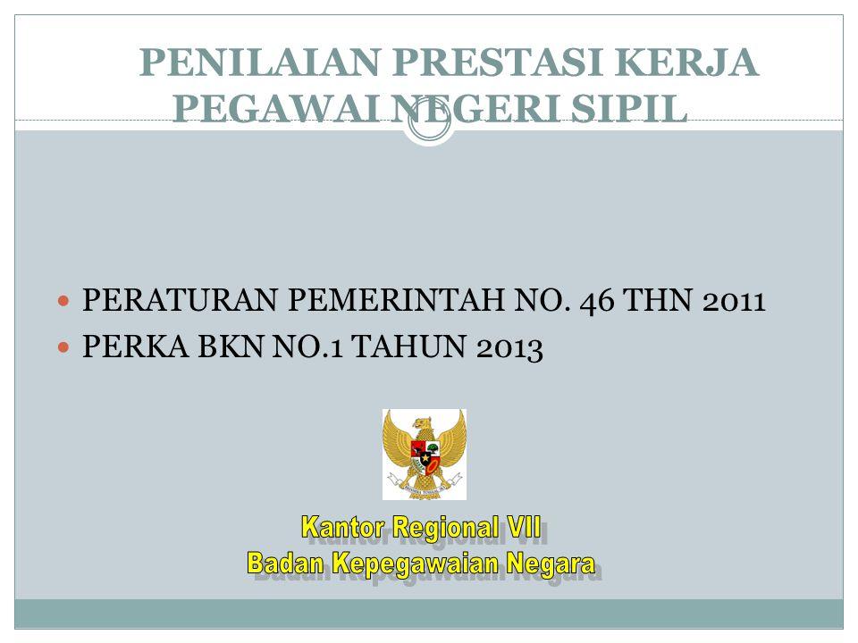 PENILAIAN PRESTASI KERJA PEGAWAI NEGERI SIPIL PERATURAN PEMERINTAH NO. 46 THN 2011 PERKA BKN NO.1 TAHUN 2013