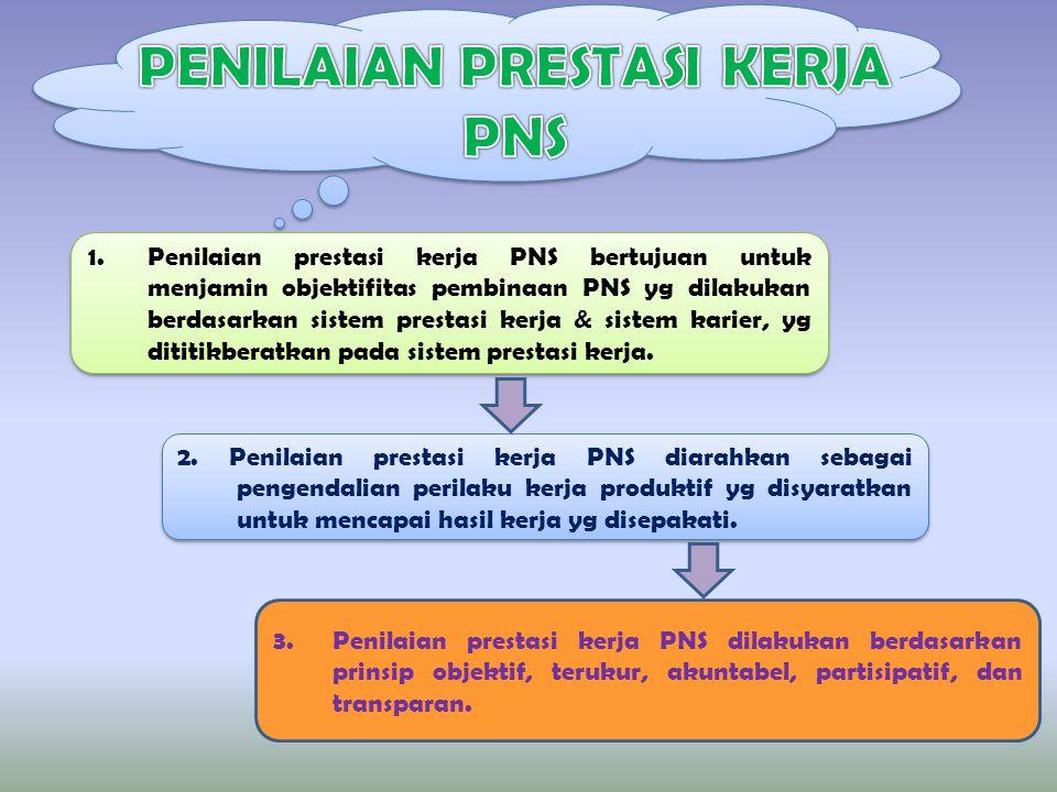 1.Penilaian prestasi kerja PNS bertujuan untuk menjamin objektifitas pembinaan PNS yg dilakukan berdasarkan sistem prestasi kerja & sistem karier, yg