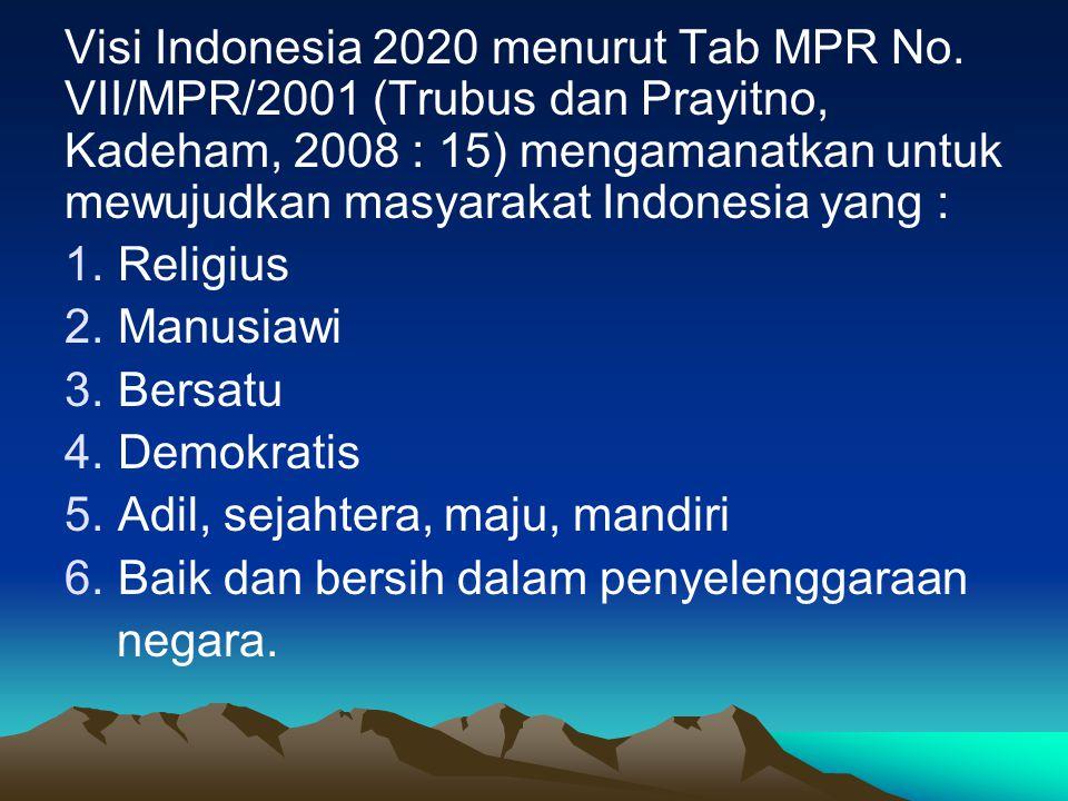 Visi Indonesia 2020 menurut Tab MPR No.
