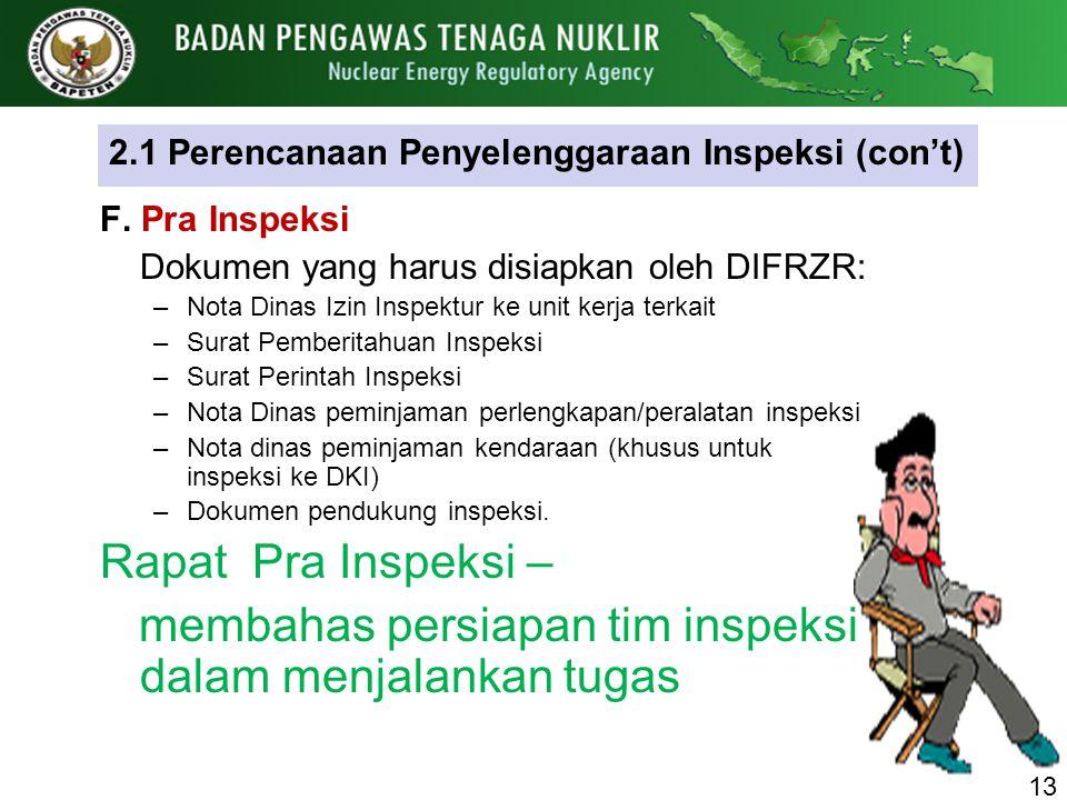 2.1 Perencanaan Penyelenggaraan Inspeksi (con't) F. Pra Inspeksi Dokumen yang harus disiapkan oleh DIFRZR: –Nota Dinas Izin Inspektur ke unit kerja te