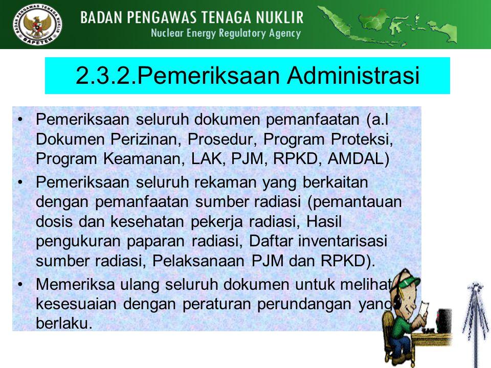 2.3.2.Pemeriksaan Administrasi Pemeriksaan seluruh dokumen pemanfaatan (a.l Dokumen Perizinan, Prosedur, Program Proteksi, Program Keamanan, LAK, PJM,