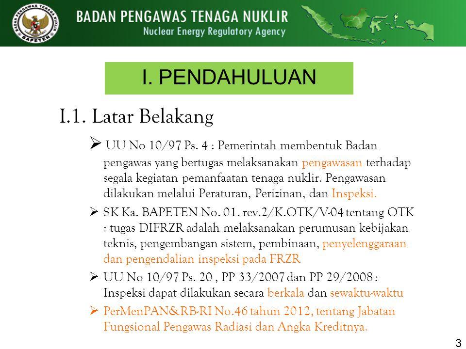 I. PENDAHULUAN I.1. Latar Belakang  UU No 10/97 Ps. 4 : Pemerintah membentuk Badan pengawas yang bertugas melaksanakan pengawasan terhadap segala keg
