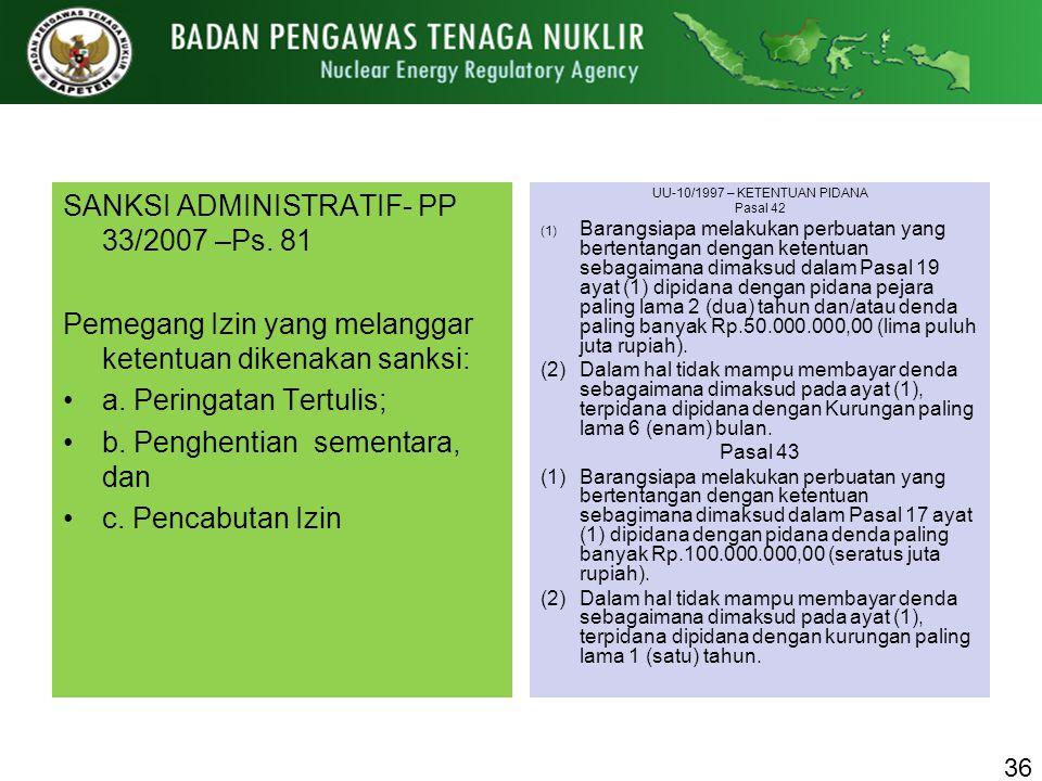 SANKSI ADMINISTRATIF- PP 33/2007 –Ps. 81 Pemegang Izin yang melanggar ketentuan dikenakan sanksi: a. Peringatan Tertulis; b. Penghentian sementara, da