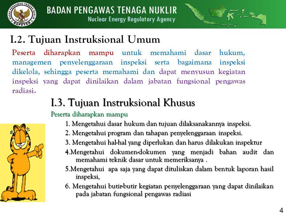I.2. Tujuan Instruksional Umum Peserta diharapkan mampu untuk memahami dasar hukum, managemen penyelenggaraan inspeksi serta bagaimana inspeksi dikelo