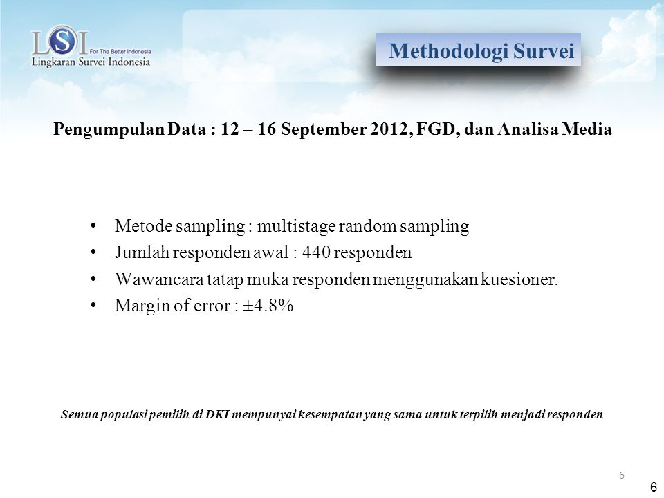 6 Metode sampling : multistage random sampling Jumlah responden awal : 440 responden Wawancara tatap muka responden menggunakan kuesioner. Margin of e