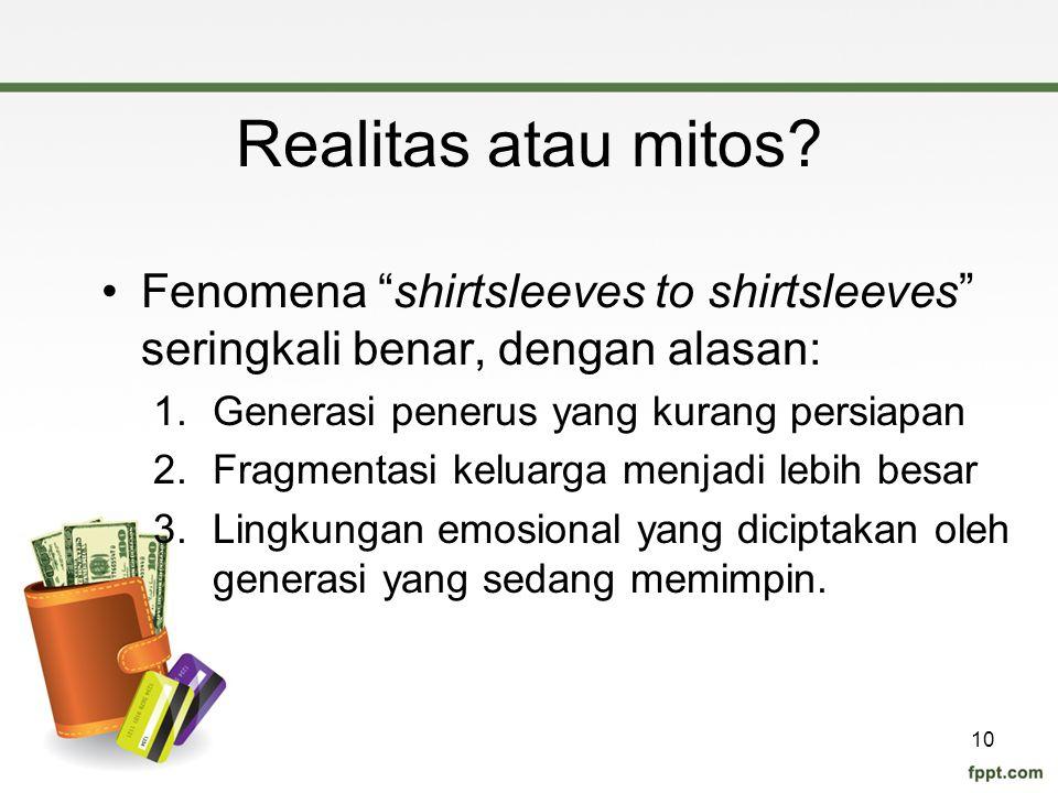"""Realitas atau mitos? Fenomena """"shirtsleeves to shirtsleeves"""" seringkali benar, dengan alasan: 1.Generasi penerus yang kurang persiapan 2.Fragmentasi k"""