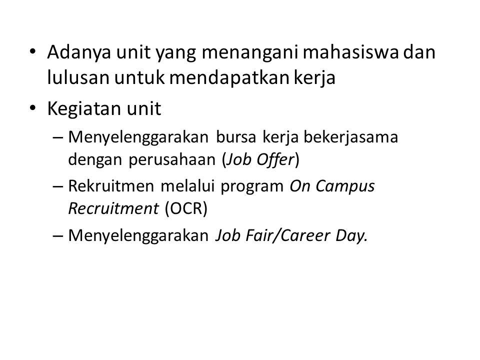Adanya unit yang menangani mahasiswa dan lulusan untuk mendapatkan kerja Kegiatan unit – Menyelenggarakan bursa kerja bekerjasama dengan perusahaan (J