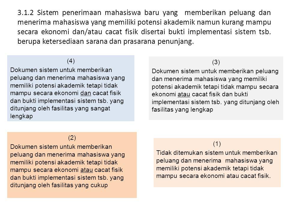 3.1.2 Sistem penerimaan mahasiswa baru yang memberikan peluang dan menerima mahasiswa yang memiliki potensi akademik namun kurang mampu secara ekonomi