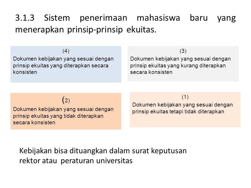 3.1.3 Sistem penerimaan mahasiswa baru yang menerapkan prinsip-prinsip ekuitas. (4) Dokumen kebijakan yang sesuai dengan prinsip ekuitas yang diterapk