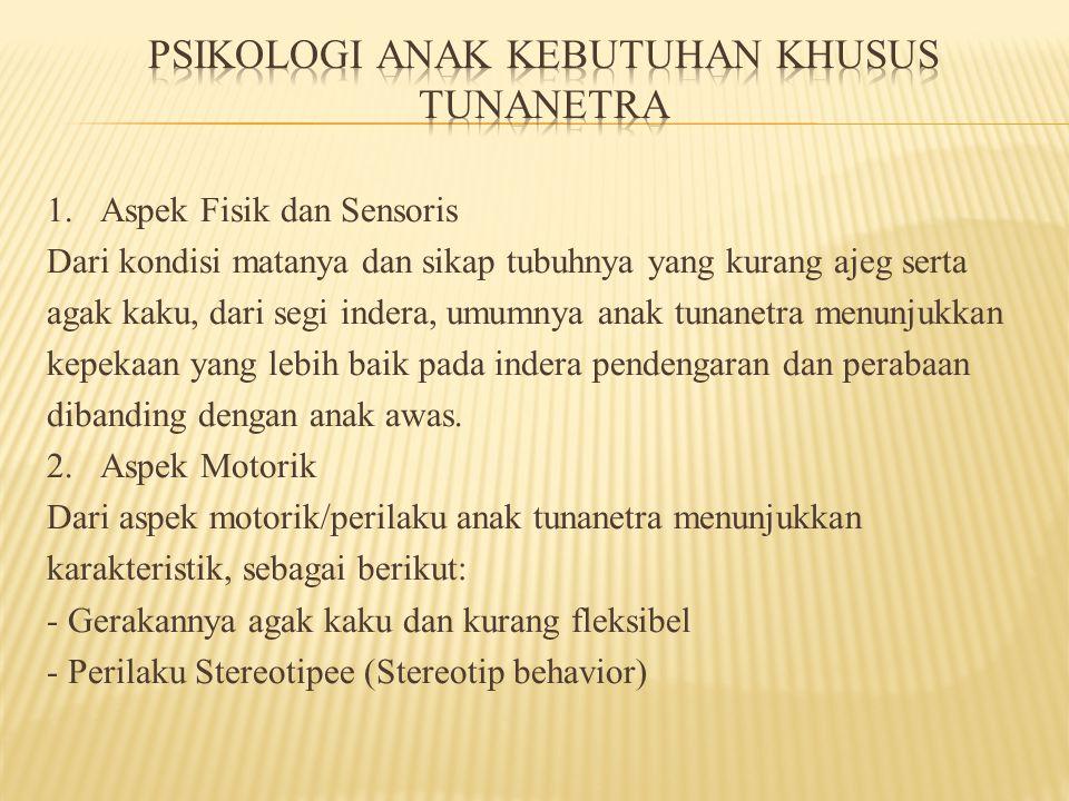 3.Aspek pribadi dan Sosial -Ketunanetraan tidak secara langsung menyebabkan timbulnya masalah kepribadian.