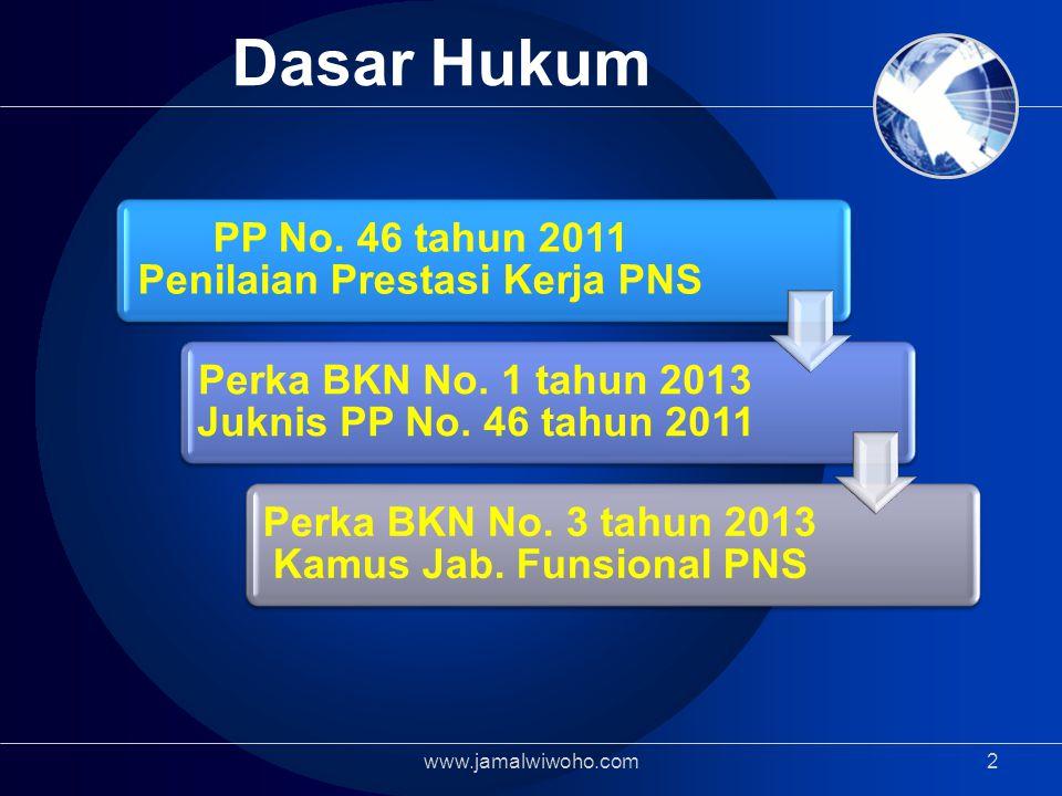 2 Dasar Hukum PP No.46 tahun 2011 Penilaian Prestasi Kerja PNS Perka BKN No.