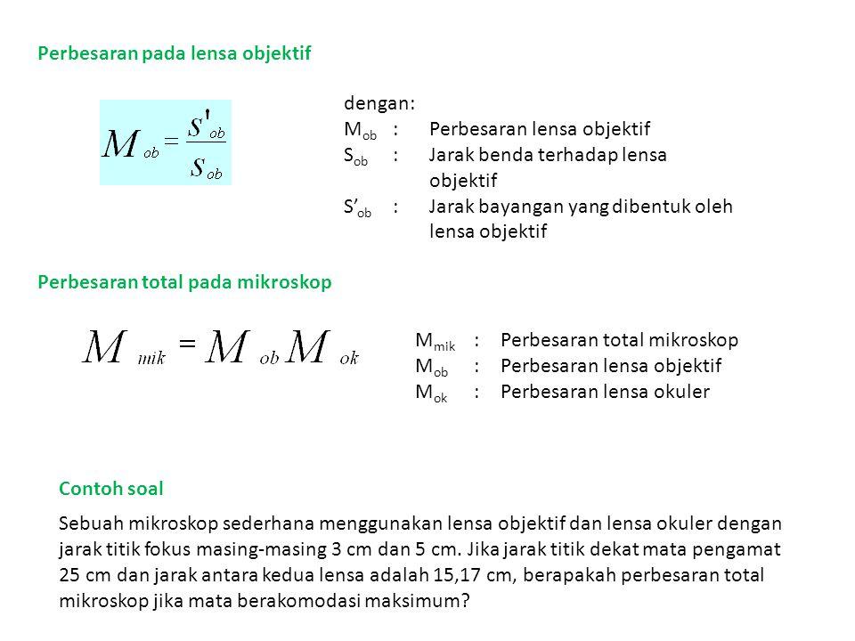 Perbesaran pada lensa objektif dengan: M ob :Perbesaran lensa objektif S ob :Jarak benda terhadap lensa objektif S' ob :Jarak bayangan yang dibentuk o
