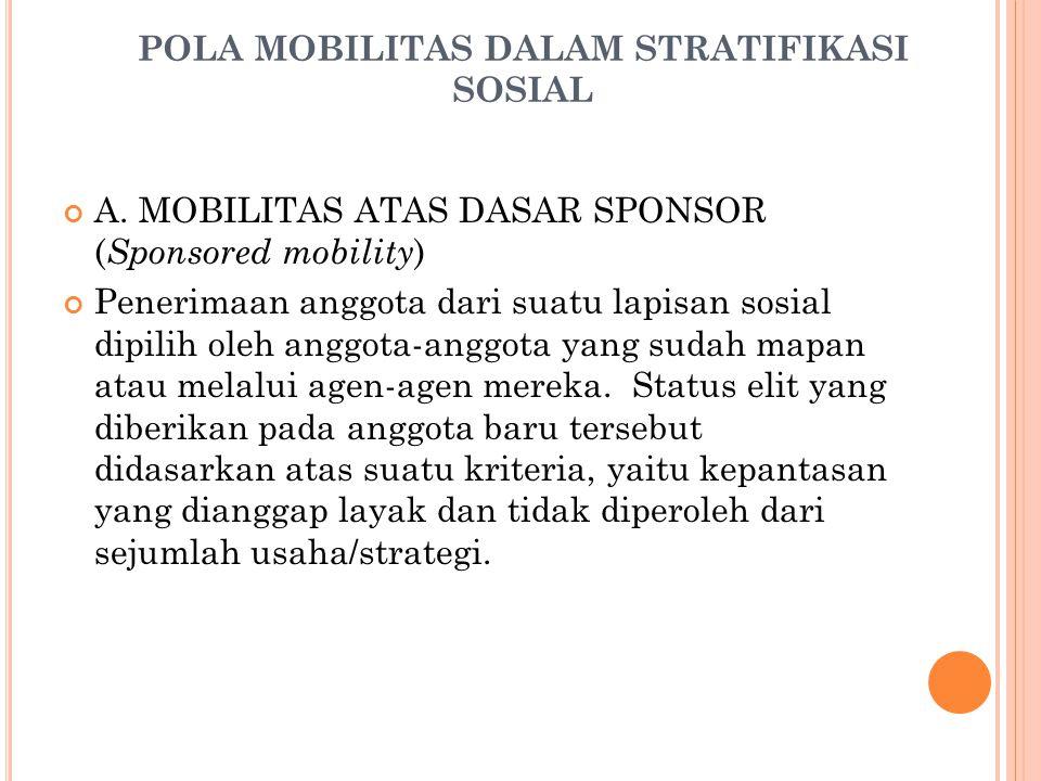 POLA MOBILITAS DALAM STRATIFIKASI SOSIAL A. MOBILITAS ATAS DASAR SPONSOR ( Sponsored mobility ) Penerimaan anggota dari suatu lapisan sosial dipilih o