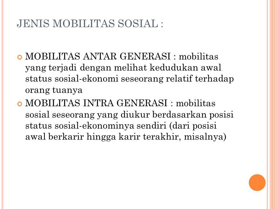JENIS MOBILITAS SOSIAL : MOBILITAS ANTAR GENERASI : mobilitas yang terjadi dengan melihat kedudukan awal status sosial-ekonomi seseorang relatif terha