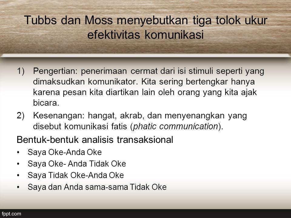 Tubbs dan Moss menyebutkan tiga tolok ukur efektivitas komunikasi 1)Pengertian: penerimaan cermat dari isi stimuli seperti yang dimaksudkan komunikato