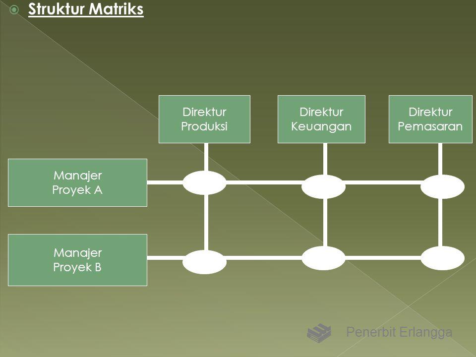  Struktur Matriks Penerbit Erlangga Manajer Proyek A Manajer Proyek B Direktur Produksi Direktur Keuangan Direktur Pemasaran