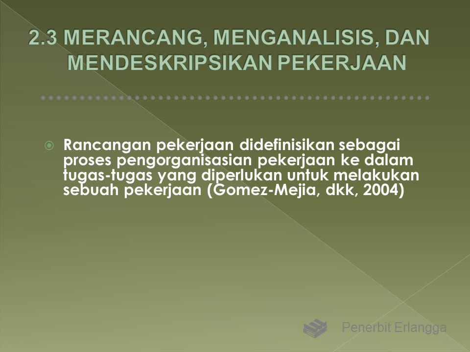  Rancangan pekerjaan didefinisikan sebagai proses pengorganisasian pekerjaan ke dalam tugas-tugas yang diperlukan untuk melakukan sebuah pekerjaan (G