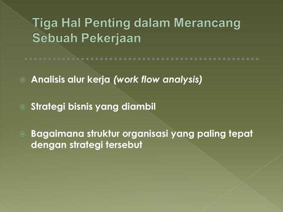  Analisis alur kerja (work flow analysis)  Strategi bisnis yang diambil  Bagaimana struktur organisasi yang paling tepat dengan strategi tersebut