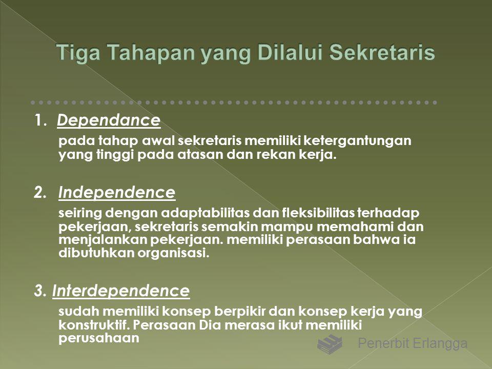 1. Dependance pada tahap awal sekretaris memiliki ketergantungan yang tinggi pada atasan dan rekan kerja. 2. Independence seiring dengan adaptabilitas