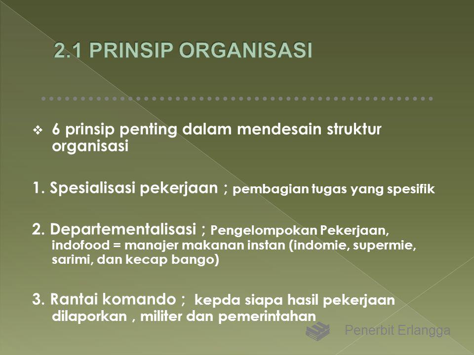  6 prinsip penting dalam mendesain struktur organisasi 1. Spesialisasi pekerjaan ; pembagian tugas yang spesifik 2. Departementalisasi ; Pengelompoka