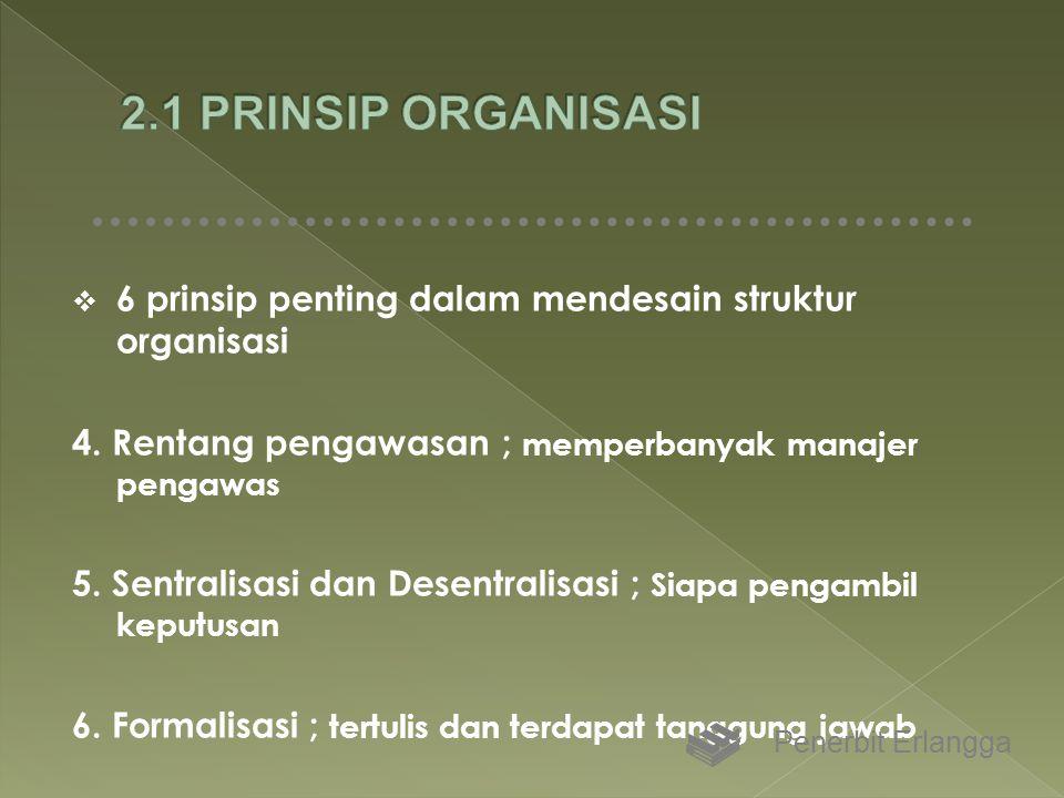  6 prinsip penting dalam mendesain struktur organisasi 4. Rentang pengawasan ; memperbanyak manajer pengawas 5. Sentralisasi dan Desentralisasi ; Sia