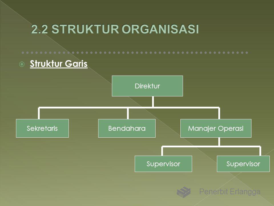  Struktur Garis Penerbit Erlangga Direktur SekretarisBendaharaManajer Operasi Supervisor