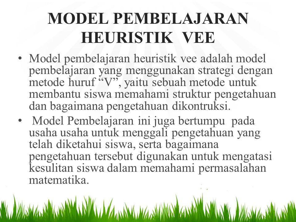 """MODEL PEMBELAJARAN HEURISTIK VEE Model pembelajaran heuristik vee adalah model pembelajaran yang menggunakan strategi dengan metode huruf """"V"""", yaitu s"""