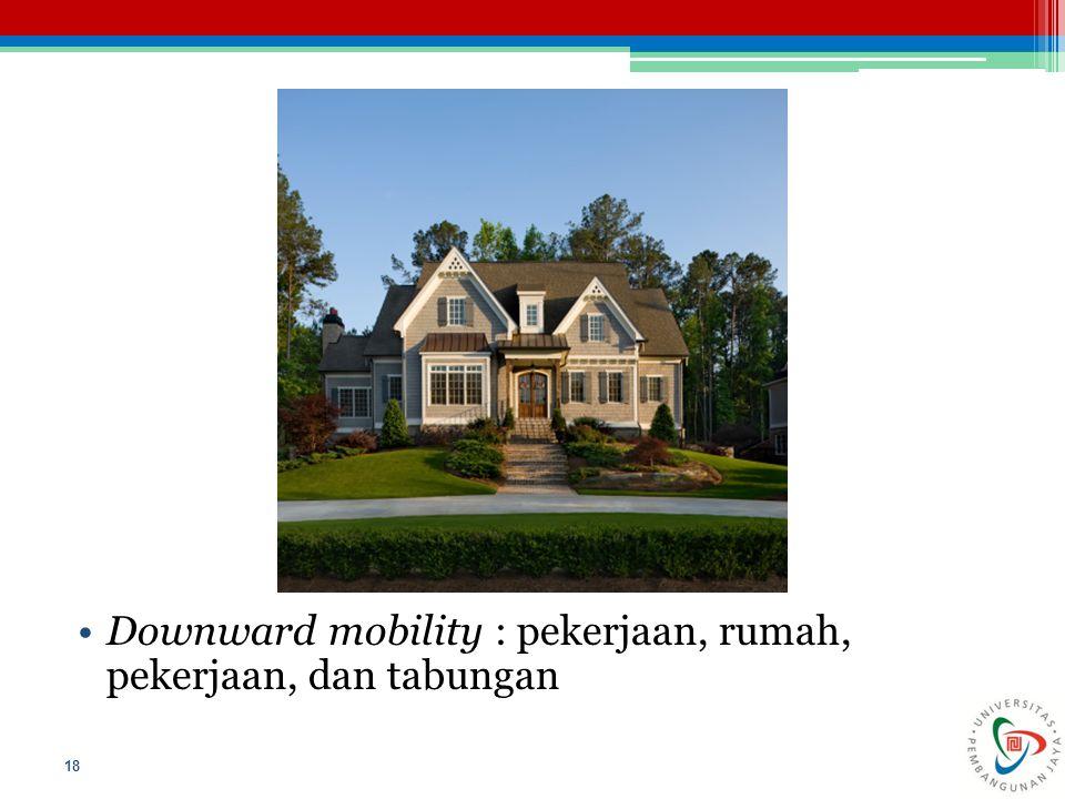 Downward mobility : pekerjaan, rumah, pekerjaan, dan tabungan 18