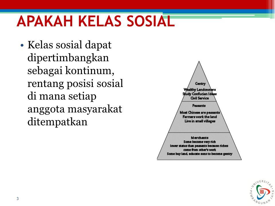 APAKAH KELAS SOSIAL 3 Kelas sosial dapat dipertimbangkan sebagai kontinum, rentang posisi sosial di mana setiap anggota masyarakat ditempatkan