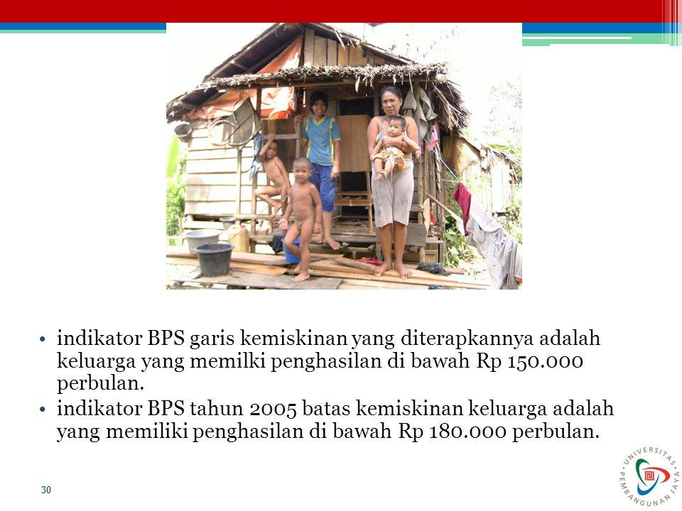 indikator BPS garis kemiskinan yang diterapkannya adalah keluarga yang memilki penghasilan di bawah Rp 150.000 perbulan. indikator BPS tahun 2005 bata