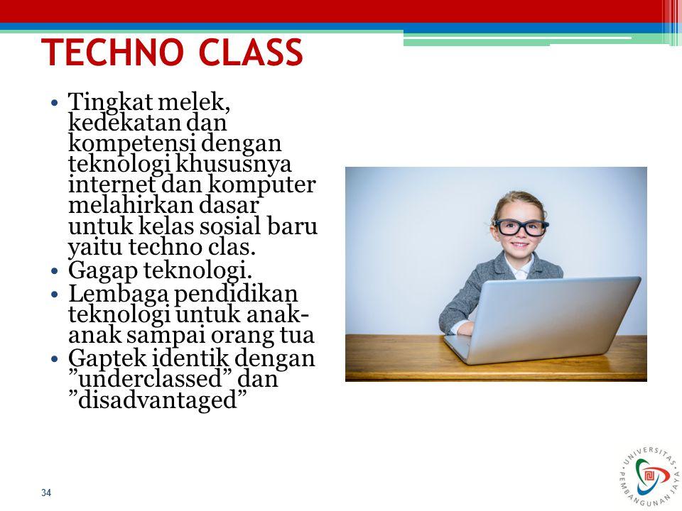 TECHNO CLASS 34 Tingkat melek, kedekatan dan kompetensi dengan teknologi khususnya internet dan komputer melahirkan dasar untuk kelas sosial baru yait