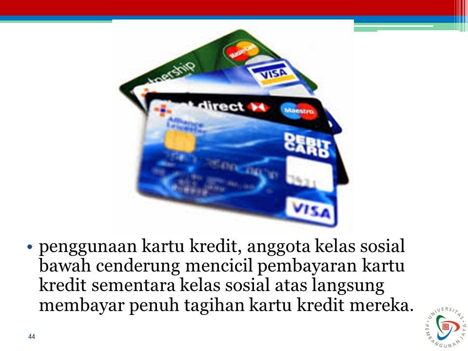 penggunaan kartu kredit, anggota kelas sosial bawah cenderung mencicil pembayaran kartu kredit sementara kelas sosial atas langsung membayar penuh tag