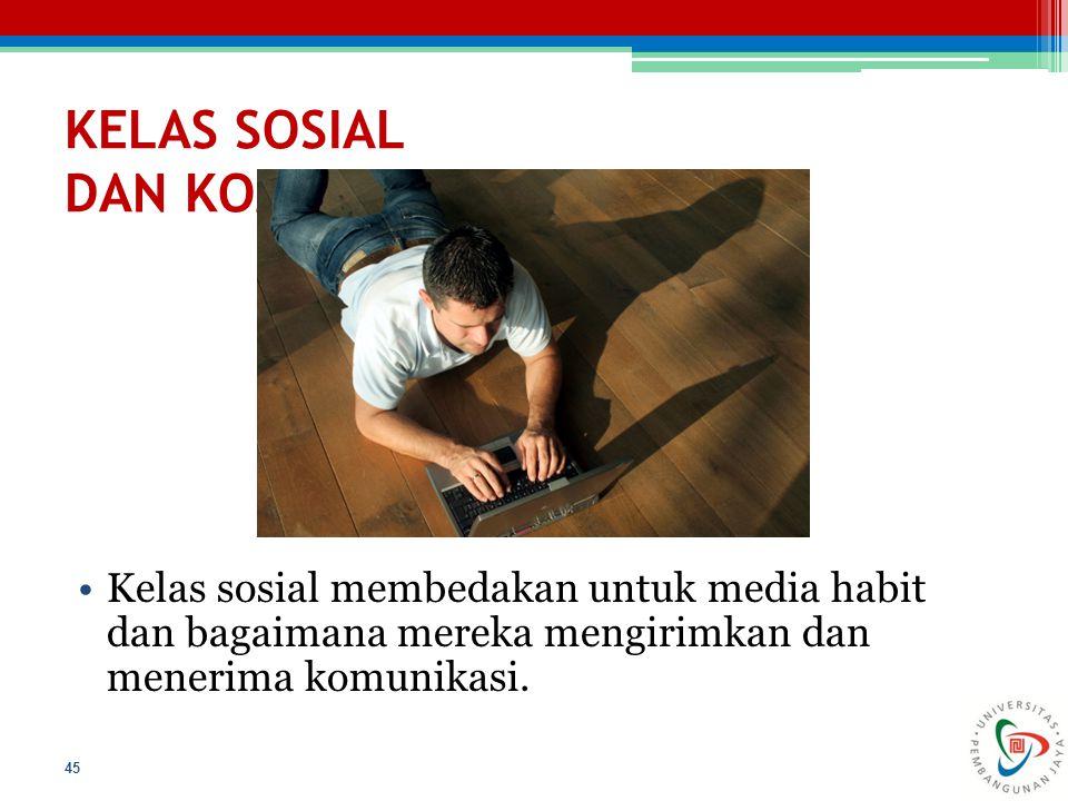 KELAS SOSIAL DAN KOMUNIKASI Kelas sosial membedakan untuk media habit dan bagaimana mereka mengirimkan dan menerima komunikasi. 45