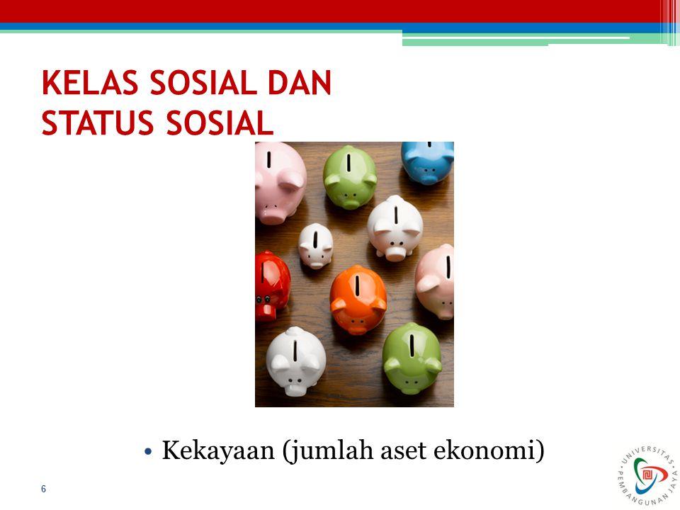KELAS SOSIAL DAN STATUS SOSIAL Kekayaan (jumlah aset ekonomi) 6