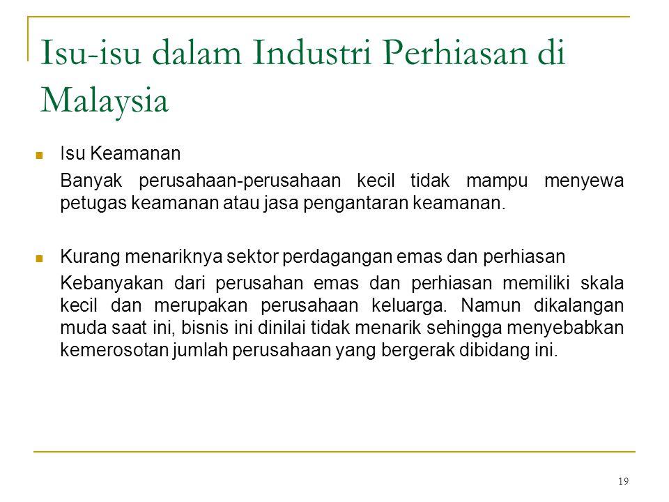 19 Isu-isu dalam Industri Perhiasan di Malaysia Isu Keamanan Banyak perusahaan-perusahaan kecil tidak mampu menyewa petugas keamanan atau jasa pengant